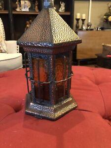 "Vintage Arts & Crafts Copper Porch Light Fixture W/ Amber Glass 11""x5""x5"""