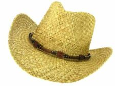STRAW COWBOY HAT WITH WOODEN BEADED DECORATIVE BAND