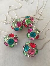 Lot Rhinestone Necklace Color Crystal Ball Pendant Silver Tone 29in 90s Vintage