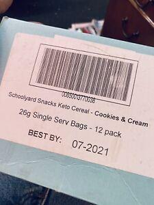 Schoolyard Snacks Old School Cookies And Cream Keto, 12 single serve bags 26g