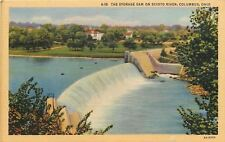 Columbus Ohio~Storage Dam on Scioto River~Neighborhood in Background 1940 Linen