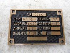 altes Typenschild Messing für Elektromotor Type D20/4