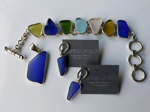 Charles Albert Sterling Silver Recycled Beach Glass Bracelet Pendant & Earrings
