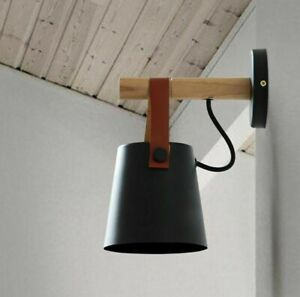 LED Wall Lamp Nordic Belt White Black 5W E27 110-240V Bedside Wood Wall Mounted
