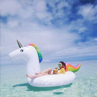 Unicorn Giant Inflatable Rainbow Pool Float Raft Swimming Water Fun Sports Toy