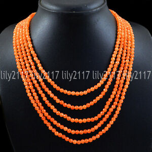 5 Rows Faceted 4mm Natural Orange Carnelian Gems Round Beads Necklace 17-22''