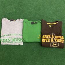 John Deere Lot Of 3 Tshirt Sweater Long Sleeve Shirt All XL