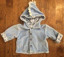 New Potatoes Boutique Baby Boy 3m Blue Velour Jacket Dinosaur Reversible