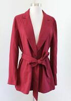 NWT J Crew Womens Solid Red Wrap Tie Front Belted Crepe Blazer Jacket Size M