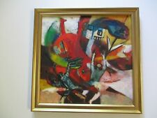 VINTAGE 1960'S ABSTRACT EXPRESSIONISM PAINTING FIGURES MODERNISM MYSTERY SIGNED
