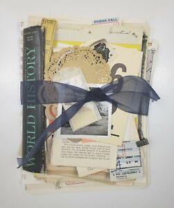 100+ Lot Old Unique Book Paper Ephemera Collage Junk Journal Altered Art #1C