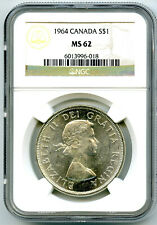 1964 $1 CANADA SILVER DOLLAR NGC MS62 CHARLOTTETOWN