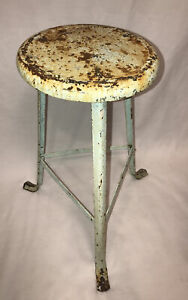 VTG Metal Lime Green Shop Industrial Factory Steampunk Retro Round Stool Chair