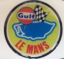 33mm LE MANS GULf GEL RESIN DOMED CUSTOM STICK ON BADGE 3D