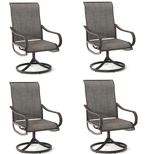 Swivel Patio Chairs Set of 4 Metal Rocker Chair Outdoor Garden Furniture Brown