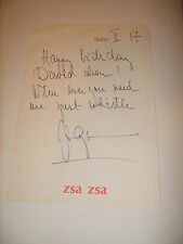 ZSA ZSA GABOR 1972 HAND WRITTEN SIGNED NOTE ON PERSONAL STATIONARY (448)