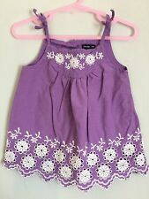 Cute Girls Purple Gap Summer Strappy Embroidered Top 2yrs🦄