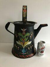 Vintage Large Folk Art Coffee Pot Hand Painted Toleware Primitive