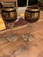 2 Antique Purple Vintage Moser Wine Glass Hocks Stunning Gold Trimmed Grape Leaf