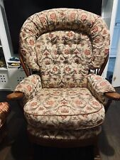 Traditional Rocking Chair Big Comfortable Wingback High Back solid Wood Fabric