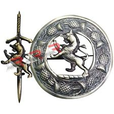 Rampant Lion Kilt Pin and Brooch Badge Set Fly Plaid High Quality Antique Finish