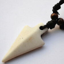 Resin Carved Bone Style Arrowhead on Wax Cotton Cord Necklace - Tribal Viking