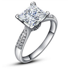 Women's 2 Carats Princess Cut Lab Diamond Wedding Engagement Ring Size 6 R31