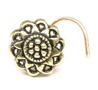 Ethnic Nose Stud, Antique gold finish nose ring, corkscrew piercing ring l bend