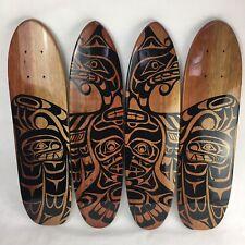4 x Vintage Native Tribal Art Teak Oak Skateboard Cruiser Deck 70's Old School