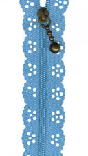 Blue Lace Zip Zipper Sewing Craft  20cm / 8 Inches *New*