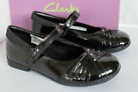 Clarks Girls Shoes Dolly Shy Black Patent Leather School Various Sizes
