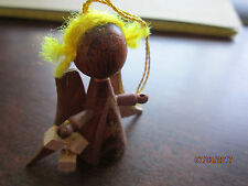 """Old World  ANGEL Made in GOULA SPAIN  WOOD Mini Ornament Vintage 2"""""""