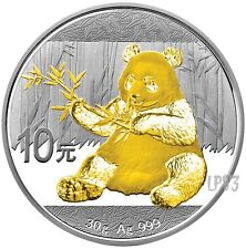 2017 30 Grams SILVER PANDA Coin WITH 24K GOLD GILDED,Blister And Coa.