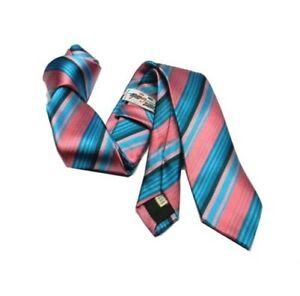 Cravate Turquoise Et Rose 6 7 Soie Multiples à Rayures Fuchsia Slim Rayé