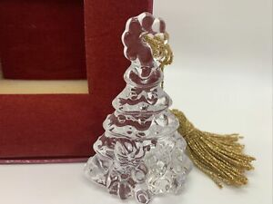 """2010 Waterford Marquis 3.5"""" Crystal Christmas Tree Holiday Ornament Gold Tassel"""
