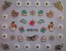 Christmas 3D Nail Art Stickers Decals Gold Snowflakes Bows Snowman Lace (XF6112)