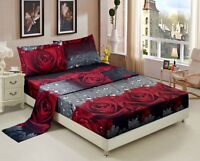 HIG 3D Sheet set -4 Pieces Rose Love Romantic Moment Printed Sheet Sets