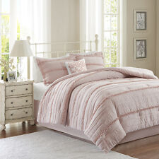 BEAUTIFUL MODERN CHIC PINK RUCHED PLEAT RUFFLED COTTAGE COMFORTER SET & PILLOW