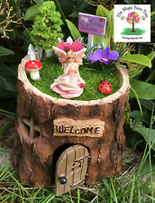 Tree stump fairy house opening door fairies garden set kit fence ladybug