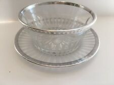 Vintage Etched Glass Candy Nut Sauce Dish With Liner Plate