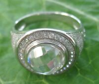 925 sterling silver and WHITE GOLD PLATE15mm ROUND CZ Ring size O1/2-U1/2 UNISEX