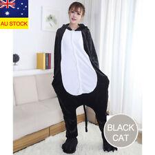 Adult Kids Fleece Black Cat Costume Pajamas Animal Cosplay Sleepwear Onesie0