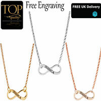 Personalised Infinity Engraved Name Necklace Plated Gold Rose Silver Jewellery