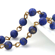 3 Strds Handmade Natural Lapis Lazuli Stone Beaded Chains Antique Bronze 39.3""
