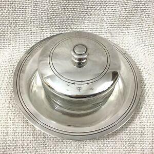 Antique French Art Deco Jam Honey Preserve Jar Pot Etched Glass Silver Plated