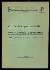 Contratto tipo per l'affitto delle aziende Cerealicole 1927 Foggia Capitanata