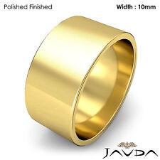 Wedding Band 10mm Flat Pipe Cut 18k Yellow Gold Women Plain Ring 9.4gm Sz 4-4.75