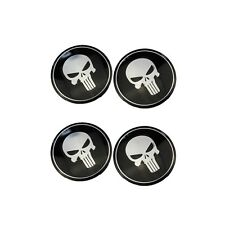 4 Pcs Car Wheel Hub Center Cap Cover Punisher Skull Emblem Decor Decal Sticker