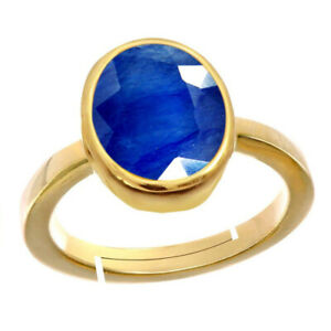 Natural Gemstone Gold Plated Blue Sapphire Adjustable Ring Size ( AU H-P or Q-Z)