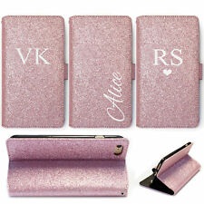 Personalised Initial Phone Case, Rose Pink Glitter PU Leather Wallet Flip Cover